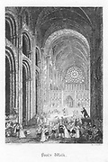 Paul's Walk: the nave of Old Saint Paul's turned into a market place. Illustration by John Franklin (active 1800-1861) for William Harrison Ainsworth 'Old Saint Paul's', London 1855 (first published 1841). Engraving.