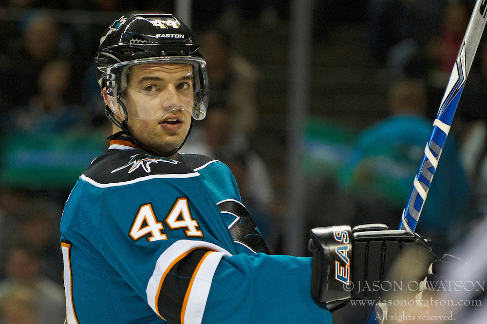 Mar 24, 2012; San Jose, CA, USA; San Jose Sharks defenseman Marc-Edouard Vlasic (44) before a face off against the Phoenix Coyotes during the first period at HP Pavilion.  San Jose defeated Phoenix 4-3 in shootouts. Mandatory Credit: Jason O. Watson-US PRESSWIRE