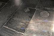 Floor with grave memorials church of Saint Andrew, Bramfield, Suffolk, England, UK memorial to Bridgett Applewhait once Bridgett Nelson