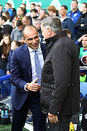 Everton Manager Roberto Martinez (l) and Sunderland Manager Sam Allardyce share a joke prior to kick off. Barclays Premier League match, Everton v Sunderland at Goodison Park in Liverpool on Sunday 1st November 2015.<br /> pic by Chris Stading, Andrew Orchard sports photography.