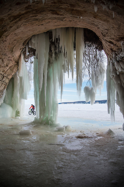 Adventure riding with fat bikes on frozen Lake Superior at Grand Island National Recreation Area at Munising, Michigan.