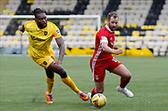Aberdeen's Niall McGinn (10) and Jay Emmanuel-Thomas (9) of Livingston battles for possession, tussles, tackles, challenges, during the Scottish Premiership match between Livingston and Aberdeen at Tony Macaroni Arena, Livingstone, Scotland on 1 May 2021.