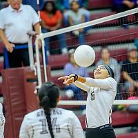 Ramah Mustang Taleah Herron (6) volleys to the Navajo Pine Warriors at Ramah High School Thursday.