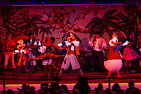 Mickey's Pirates of the Caribbean stage show, on deck on the new Disney Dream cruise ship, Disney Cruise Line, sailing between Florida and the Bahamas