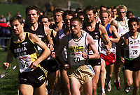 Friidrett. NM terrengløp 2002. Osterøy. 13.04.2002.<br />3 km menn senior.<br />Marius Bakken fra Runar (60) vant foran Knut Erik Rame fra Gjesdal (85). Bak Rame ser vi Kjetil Hodnekvam.<br />Foto: Chris Kyllingmark, Digitalsport.
