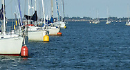 Line of boats on moorings