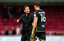 Bristol Rovers manager Darrell Clarke congratulates Tom Broadbent of Bristol Rovers after the win over Northampton Town - Mandatory by-line: Robbie Stephenson/JMP - 07/10/2017 - FOOTBALL - Sixfields Stadium - Northampton, England - Northampton Town v Bristol Rovers - Sky Bet League One