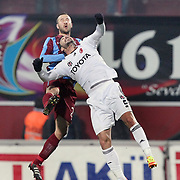 Trabzonspor's Remzi Giray Kacar (L) during their Turkish superleague soccer derby match Trabzonspor between Besiktas at the Avni Aker Stadium in Trabzon Turkey on Sunday, 27 November 2011. Photo by TURKPIX