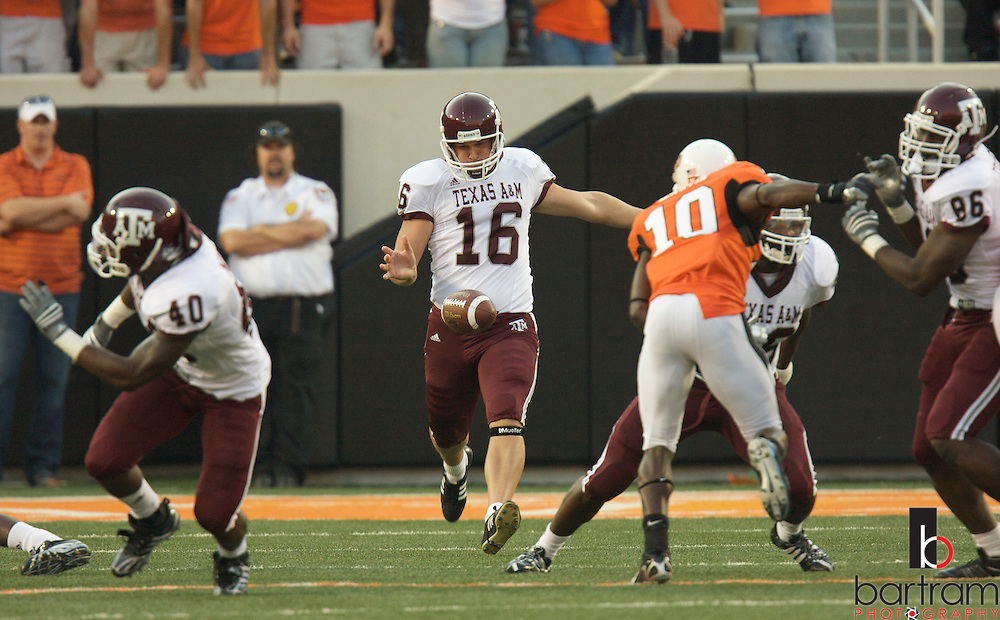 Texas A&M punter Justin Brantly at Oklahoma State on October 4, 2008 at T. Boone Pickens Stadium in Stillwater, Oklahoma.