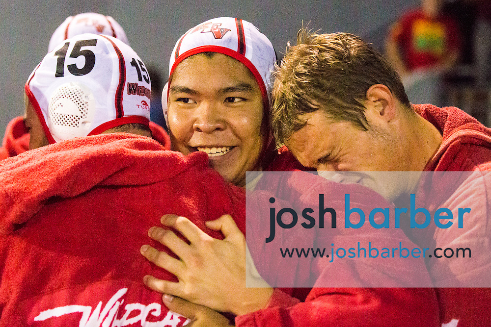 Redlands East Valley's Wade Allsup (15), Brian Goh (7) during the CIF-SS Division 5 Boy's Water Polo Final at Woollett Aquatic Center on Saturday, November 21, 2015 in Irvine, California. (Photo/Josh Barber)