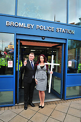 © Licensed to London News Pictures.04/11/2017.<br /> BROMLEY, UK.<br /> Britain First leaders coming out after signing in on bail.<br /> Britain First hold a Persecuted Patriots Rally outside Bromley Police Station, Bromley South.Party Leader Paul Golding and his deputy Jayda Fransen have to sign on bail every Saturday 2pm at Bromley Police station.<br /> Photo credit: Grant Falvey/LNP