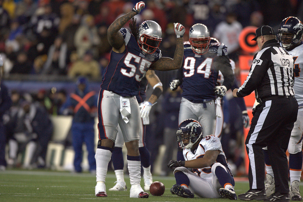 Foxborough, MA 01/14/2012.Patriots linebacker Brandon Spikes celebrates a tackle in the second half of Saturday's AFC Divisional game between the New England Patriots and the Denver Broncos..Wicked Local Photo by Alex Jones