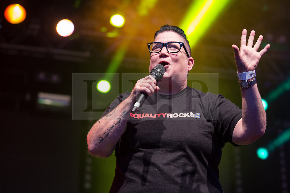 """© Licensed to London News Pictures . 22/08/2014 .  Manchester , UK . Lea DeLaria ( of American TV's Orange is the New Black ) on the main stage . Manchester Pride """" Big Weekend """" in Manchester's """" Gay Village """" today ( 22nd August 2014 ) . Photo credit : Joel Goodman/LNP"""