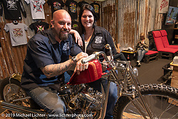 Tina and Brian Buttera with his custom Harley-Davidson Shovelhead that won him this trip to the Swiss-Moto show when he won the Rat's Hole Show in Sturgis last summer. The icing on the cake was that he won Best of Show at this Swiss Moto, which won him another trip, this time to the upcoming Custom Show Emirates in Abu Dhabi. (and Brian just got his first passport ever!) Photographed at the Swiss-Moto Customizing and Tuning Show. Zurich, Switzerland. Friday, February 22, 2019. Photography ©2019 Michael Lichter.