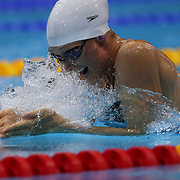 Breeja Lasron, USA, in action during the Women's 100m Breastroke heats during the swimming heats at the Aquatic Centre at Olympic Park, Stratford during the London 2012 Olympic games. London, UK. 29th July 2012. Photo Tim Clayton