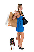 woman in blue dress out shopping with her dog On white Background