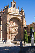 Tourists visiting Convent and church of San Esteban in Plaza del Concilio de Trento, Salamanca, Spain