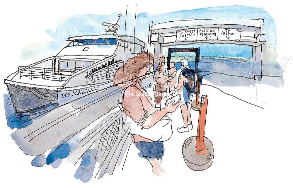 Waiting to board the King County Water Taxi. (Gabriel Campanario / The Seattle Times)