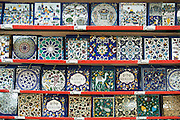 Israel, Jerusalem, Old City The Market Decorated ceramic tiles on sale