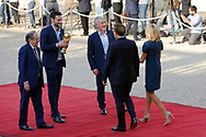 Noel Le Graet, Hugo Lloris, Didier Descahmps, Emmanuel Macron, Brigitte Macron during the reception of the French team at Elysée after winning the 2018 FIFA World Cup Russia on July 16, 2018 in Paris, France - Photo Stephane Allaman / ProSportsImages / DPPI