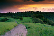 Sunset over the rim trail, Lafayette Reservoir, Lafayette, Contra Costa County, CALIFORNIA