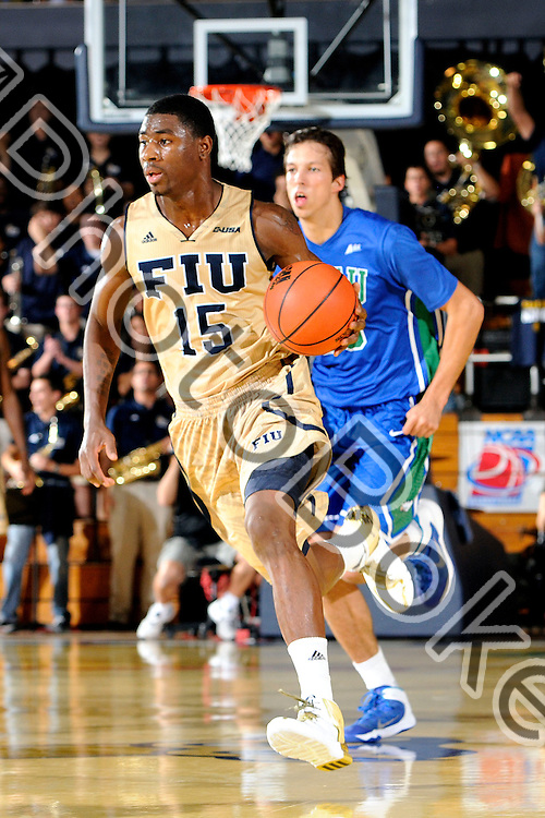 2013 December 07 - FIU's Tymell Murphy (15).  <br /> Florida International University defeated Florida Gulf Coast University, 72-61, at the US Century Bank Arena, Miami, Florida. (Photo by: www.photobokeh.com / Alex J. Hernandez) This image is copyright PhotoBokeh.com and may not be reproduced or retransmitted without express written consent of PhotoBokeh.com. ©2013 PhotoBokeh.com - All Rights Reserved