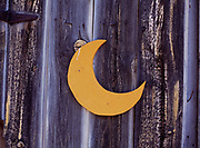 Crescent moon on outhouse at Phil and Tiny Keller's Ranch, Antelope Valley, Idaho.