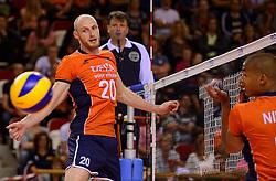20150614 NED: World League Nederland - Finland, Almere<br /> De Nederlandse volleyballers hebben in de World League ook hun tweede duel met Finland gewonnen. Na de 3-0 zege van zaterdag werd zondag in Almere met 3-1 (22-25, 25-20, 25-13, 25-19) gewonnen / Jasper Diefenbach #20