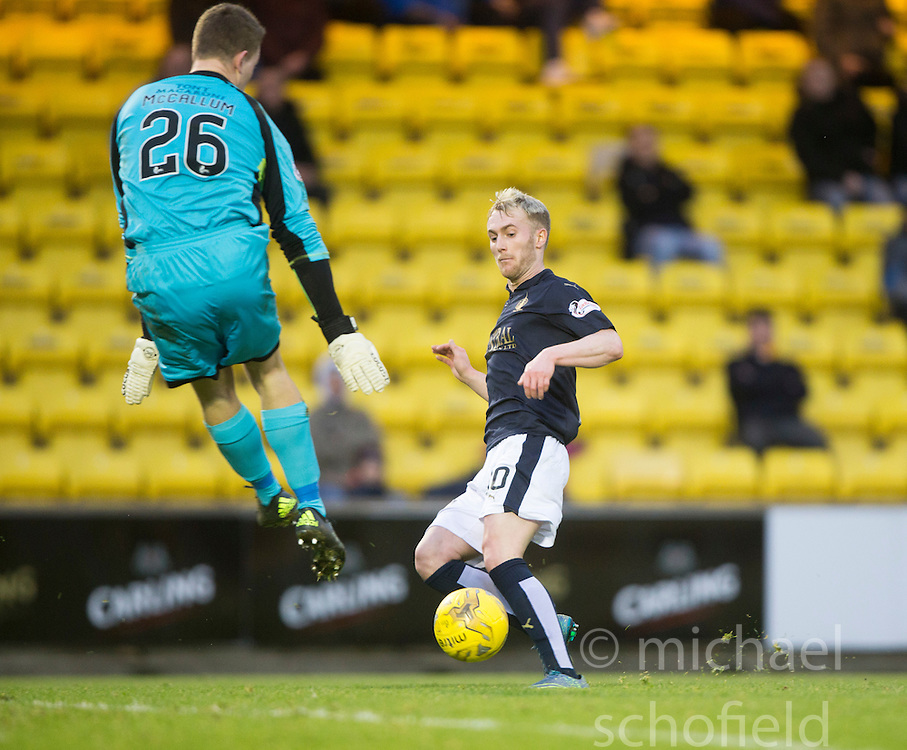 Falkirk's Craig Sibbald scoring their goal. <br /> Half time : Livingston 0 v 1 Falkirk, Scottish Championship game at The Tony Macaroni Arena at 23/1/2016.