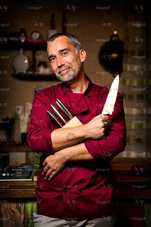 "Famous serbian chef ""Lepi Brka"" in advertising campaign for Thomas knives. Client: Eko Petrol Srbija"