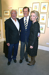 Left to right, MICHAEL WINNER, actor ROGER MOORE and his wife KIKI  THOLSTRUP at an exhibition of postcards by the late Donald McGill hosted by Michael Winner at Chris Beetles, 8&10 Ryder Street, London SW1 on 14th March 2006.<br /><br />NON EXCLUSIVE - WORLD RIGHTS