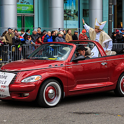 Philadelphia, PA, USA - January 1, 2016: Mummers Parade in Philadelphia included Pope in Pope-Mobile.