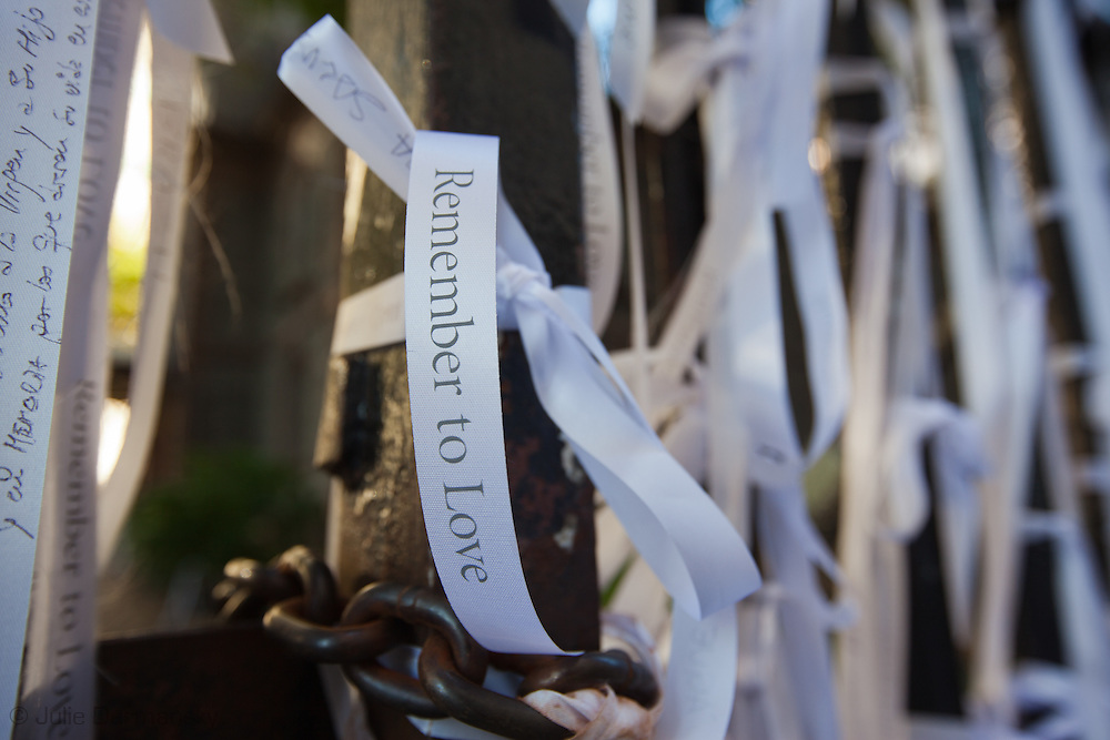 Ribbons of Remembrance tied to the cast iron fence around  St Paul's Chapel on September 9, 2011. Members of the church gave out ribbons  and had pens available for visitors to write the names of loved ones and other messages on them. New York City prepares to commemorate the 10th anniversary of the 9/11 attacks on the World Trade Center towers despite new credible threats of terrorism.