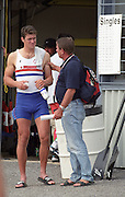 St Catharines, Ontario, CANADA 1999 World Rowing Championships. GBR M1X, Greg Searle and GBR Chief men's coach, Jurgan Grobler,[Mandatory Credit Peter Spurrier Intersport Images] 1999 FISA. World Rowing Championships, St Catherines, CANADA
