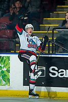 KELOWNA, BC - FEBRUARY 12: Pavel Novak #11 of the Kelowna Rockets celebrates the first goal against the Tri-City Americans at Prospera Place on February 8, 2020 in Kelowna, Canada. (Photo by Marissa Baecker/Shoot the Breeze)
