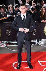 Tom Holland arriving at the UK Premiere of Lost City of Z, The British Museim, London.