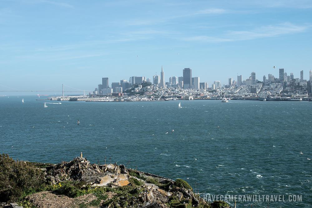 The view of San Francisco city skyline from Alcatraz Island.