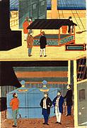 Cross-section of a European ship showing men in European dress on deck, top, and men on the lower deck: Yokahama, Japan, 1861. Utagawa Yoshikazu (active c1850-1870) Japanese artist. Commerce Trade Merchant