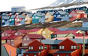 Colourfull houses in Longyearbyen (Spitsbergen, Svalbard).