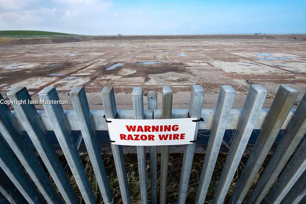 """Cockenzie, UK. 14 April, 2018. View of site of the former Cockenzie power station in East Lothian, Scotland. A row has begun over concerns about the Scottish government's decision to """"call in"""" a planning application by Red Rock Power to build a renewable energy sub-station on the site. Red Rock Power, part of China's largest state-owned investment fund, the State Development and Investment Corporation (SDIC), wants the the sub-station to allow it  to feed power from the Inch Cape offshore wind farm, near Angus, into the national grid."""