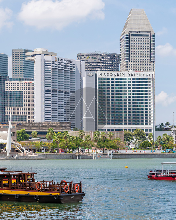 Singapore - 26 March 2019: View of Marina Bay luxury hotel building in Singapore downtown.
