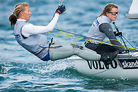 Hannah Mills and Saskia Clark (GBR), 470, women's two person dinghy, Sailing Olympic Test Event, Weymouth, England,