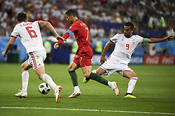 June 25, 2018 - Saransk, Russia - Cristiano Ronaldo of Portugal fights for the ball with Omi Ebrahimi and Saeid Ezatolahi of Iran during the 2018 FIFA World Cup Group B match between Iran and Portugal at Mordovia Arena in Saransk, Russia on June 25, 2018  (Credit Image: © Andrew Surma/NurPhoto via ZUMA Press)