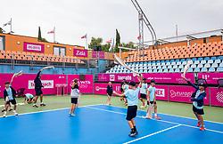 PORTOROZ, SLOVENIA - SEPTEMBER 16:  Court cleaning after rain during the WTA 250 Zavarovalnica Sava Portoroz at SRC Marina, on September 16, 2021 in Portoroz / Portorose, Slovenia. Photo by Vid Ponikvar / Sportida