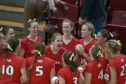 12 November 2006: M.C. Richmond rallies the Redbirds in the pre-game starter announcements huddle. In the final regular season home game at ISU, the Northern Iowa Panthers defeated the Illinois State Redbirds 3 game to 1. The match took place at Redbird Arena on the campus of Illinois State University in Normal Illinois.<br />