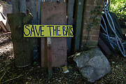 A sign reading 'Save The Bats' at the Stop HS2 Wendover Active Resistance Camp is seen on 17th July 2020 in Wendover, United Kingdom. Environmental activists from groups including Stop HS2 and HS2 Rebellion continue to protest against HS2, which is currently projected to cost £106bn and which will remain a net contributor to CO2 emissions during its projected 120-year lifespan, on environmental and economic grounds.