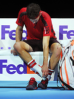 Tennis - 2017 Nitto ATP Finals  at The 02 - Day four, Wednesday <br /> <br /> Pablo Carreno Busta  v Dominic Thiem <br />  <br /> Dominic Thiem checks on his big toe in between games<br /> <br /> COLORSPORT/ANDREW COWIE