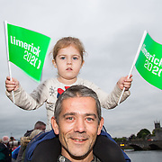 08.06.2016        <br /> Stepping out to support the Limerick 2020 Bid and to watch Scotty Knemeyer's spectacular flyboard show over the River Shannon at Clancy Strand was John Joe and 3 year old Leah Quish, Castletroy, Limerick. Picture: Alan Place