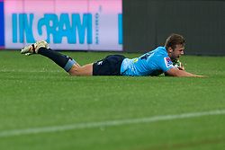 March 23, 2019 - Sydney, NSW, U.S. - SYDNEY, NSW - MARCH 23: Waratahs player Cam Clark (14) drives in the corner to score a try at round 6 of Super Rugby between NSW Waratahs and Crusaders on March 23, 2019 at The Sydney Cricket Ground, NSW. (Photo by Speed Media/Icon Sportswire) (Credit Image: © Speed Media/Icon SMI via ZUMA Press)