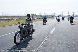 Steve Decosa of New York riding his 1915 Harley-Davidson shortly after the start of the Motorcycle Cannonball Race of the Century. Stage-1 from Atlantic City, NJ to York, PA. USA. Saturday September 10, 2016. Photography ©2016 Michael Lichter.